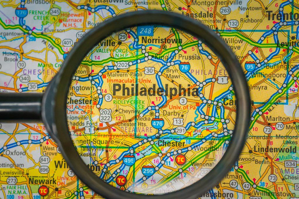 Philadelphia on map